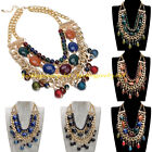 Fashion Gold Chain Multicolor Resin Cluster Beads Statement Bib Collar Necklace
