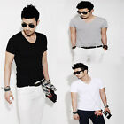 Fashion Men Slim Fit Cotton V-Neck Short Sleeve Casual T-Shirt Tops hot Great