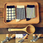 Unisex Cotton Socks Women Men Vantage Stripe Houndstooth Grid Printed Warm Socks