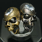 Glossy Skull CZ Head Adjustable Ring Mens Unisex Biker Hiphop Fashion Jewelry