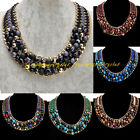 Fashion Tribal Gold Chain Multicolor Rope Strip Resin Rhinestone Bib Necklace