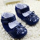 Infant baby girl blue crib shoes casual shoes size 0-6 6-12 12-18 months