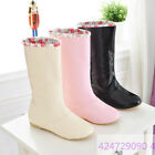 Fashion Women Ladies Cute Synthetic Low Heel Mid Calf Boots Shoes US Size Y476