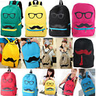 Fashion Women Men Lady Mustache Canvas eyeball School Book Campus Bag Backpack