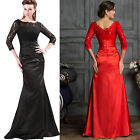 Applique Lace 3/4 Sleeve Long Maxi Evening Prom Party Wedding Gown Formal Dress