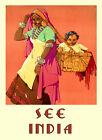 Mother Child Basket People of India Travel Tourism Vintage Poster Repro FREE S/H