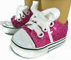 "Hot Pink Sequin Sneakers Shoes made for 18"" American Girl Doll Clothes"