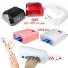 36W 9W UV Nail Polish Dryer Lamp Gel Acrylic Curing UV/ LED Lamp+CCFL220-240V UK
