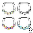 New Surgical Steel Five CZ Gem Paved Jewel Septum Clicker Nose Diath Ring 16g
