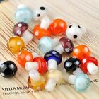 20x Lot Lampwork Glass Mushroom Spacer Charms Loose Beads For Jewelry Making DIY