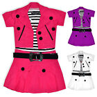 Girls Belted Party Dress And Short Sleeve Jacket Set Kids New Age 3 - 10 Years