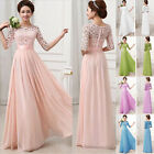 2015 NEW Designer! Long Lace Vintage Half Sleeve Evening Party CLUB Prom Dresses
