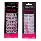 Beauty UK Nail Wraps Stickers Foils Art & File Floral Flowers Roses Pink Hawaii