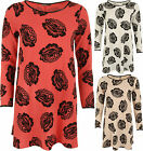 New Womens Crepe Long Sleeve Floral Rose Print Swing Midi Dress Ladies Top 8-14