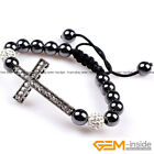 Handwork 10mm Rhinestone Crystal Ball Cross Shape Jewelry Bracelet For Women
