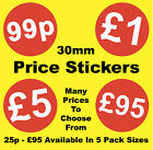 30mm Bright Red Price Point Stickers / Sticky Labels / £1.29 £1.39 £1.69 £1.79