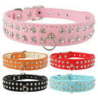 (4 Colors)New Leather Rhinestone Dog Collars Diamante Pet Collars for small dogs