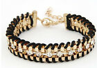 Womens Leather Wrap Wristband Cuff Girls Punk Crystal Rhinestone Bracelet Bangle