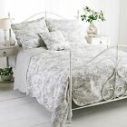 100% Cotton Quilted Grey French Country Toile De Jouy Quilted Bedspread Throw