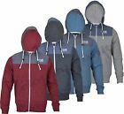 Mens Crosshatch Portals Zip Hooded Casual Jacket Hoody Fleece Top Denim Patches