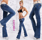 New Sexy Boot Cut Jeans For Women Size 6 8 10 12 14 Low Rise Bootleg Flare Leg