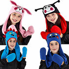 Kids Hooded Scarf ProClimate Boys Girls Fleece Monsters & Animals Winter Hat