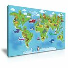 Animals Map of the World for Children and Kids Canvas Wall Art Deco 9 Sizes