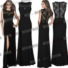 Ladies Sexy Black Prom Bridesmaid Evening Formal Party Gown Womens Wedding Dress
