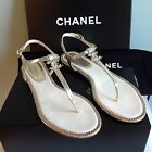 CHANEL Classic Crackle Gold Leather Jewelry CC THONG SANDAL Flats Shoes $1, 025