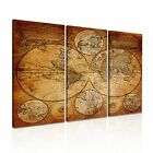 WORLD MAP 25 Grunge Vintage Framed Print Canvas Wall Art ~ 3 Panels ~