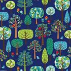 BLUE TREES - JOLLY'S FARM by MAKOWER 100% COTTON FABRIC PATCHWORK