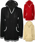 New Womens Cable Knitted Pocket Long Sleeve Dress Top Ladies Hooded Jumper 8-14