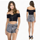May&Maya Women's Off Shoulder Sweetheart Neckline Crop Top Tee Shirt Bustier