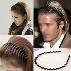 Mens Women Unisex Black Wavy Hair Head Hoop Band Sport Headband Hairband Fashion