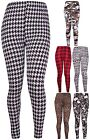 Womens Plus Size Tartan Skull Leopard Print Ladies Long Legging Pants Trousers
