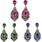 1 Pair Women Sparkling Crystal Teardrop Dangle Rhinestone Stud Earrings Серьги R