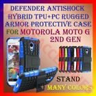 DEFENDER ANTISHOCK TPU+PC RUGGED ARMOR CASE & STAND for MOTOROLA MOTO G 2ND GEN