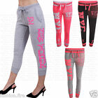 Womens Trendy Fashion Drop Crotch Joggers Bottom Cuffed Cotton Slim Fit CAPRI