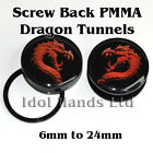 1 Pair of 6mm to 24mm Dragon Picture 2-piece Plug / Tunnels