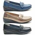NEW LADIES LOW WEDGE HEEL WOMENS LOAFER SLIP ON MOCCASIN SHOES UK SIZES