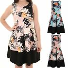 Womens Panel Hem Oriental Floral Print Sleeveless Skater Pleated Flare Dress