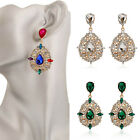 Women Floral Drop Dangle Rhinestone Crystal Shiny Party Prom Wedding Earring C