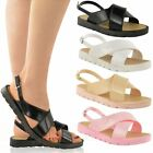 WOMENS LADIES SUMMER JELLY SANDALS ANKLE STRAP SLINGBACK BUCKLE BEACH SIZE