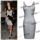 Ladies Sex Celeb Striped Bandage Bodycon Evening Cocktail Party Short Mini Dress