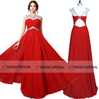 Sexy Hollow Back Long Red Prom Evening Gown Gems Sheer Neck Ball Party Dresses