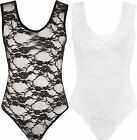 New Womens Lace Detail Stretch Sleeveless Bodysuit Ladies Plain Leotard Top 8-14