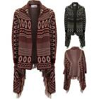 Ladies Aztec Tassel Waterfall Cardigan Women's Knitted Shawl Poncho Wrap