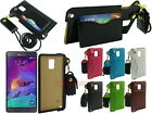 Leather Sleeve Case with Card Slot Neck Strap for Samsung Galaxy Note 4
