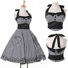 HOUSEWIFE 50'S RETRO VINTAGE STYLE ROCKABILLY SWING HALTER DRESS PLUS SIZE XS-XL