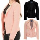 Womens Low V Neck Lined Smart Elegant Padded Shoulders Office Blazer Jacket